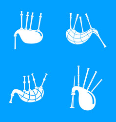 bagpipes scotland scottish icons set simple style vector image