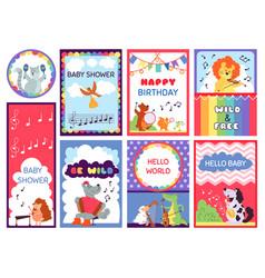 bashower animal cards cute greetings kids vector image
