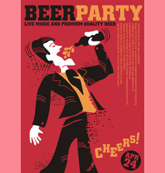 beer party poster design vector image