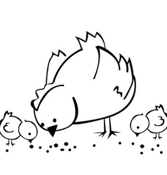black and white hen and two chickens vector image