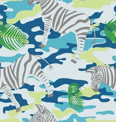 blue zebra and palm leaves on blue military vector image