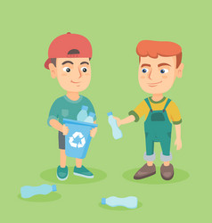 Boys collecting plastic bottles for recycling vector