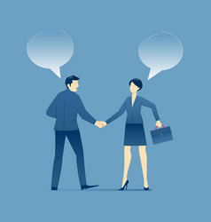 Businessman and business woman shake hands in vector