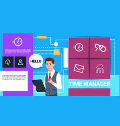 businessman with tablet time manager shedule vector image
