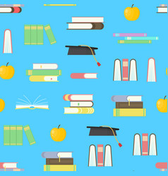 cartoon education seamless pattern background on a vector image