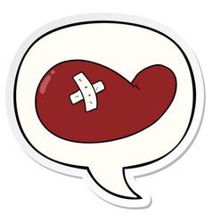 cartoon injured gall bladder and speech bubble vector image
