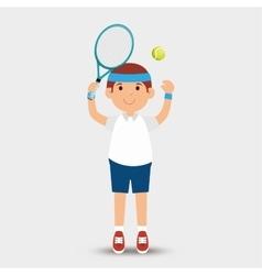 cartoon man player tennis racket ball vector image
