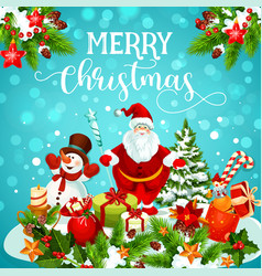 christmas greeting card of snowman santa and gift vector image