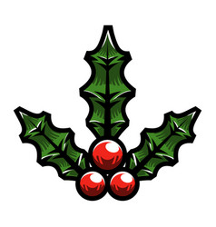 christmas holiday mistletoe with red berries and vector image