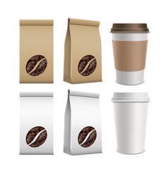 coffee beans and plastic containers vector image