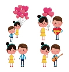 Collection couples love funny happy vector
