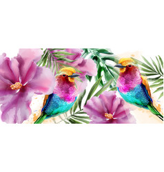 colorful birds and flowers watercolor vector image