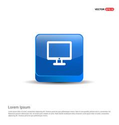 computer screen icon - 3d blue button vector image