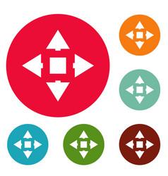 Cursor displacement icons circle set vector