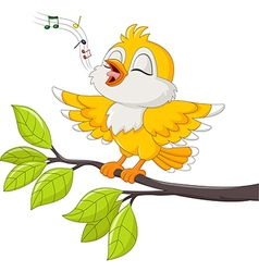 Cute yellow bird singing isolated vector