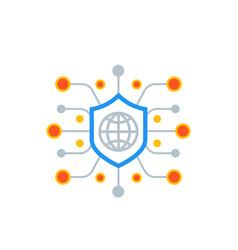 Cyber attack ddos icon vector