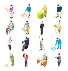 Domestic servant isometric icons vector