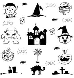 Doodle of castle pumpkins cat monster element vector