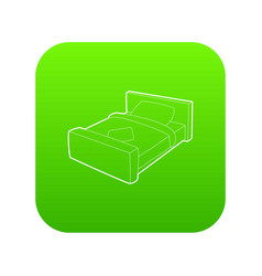double bed icon green vector image