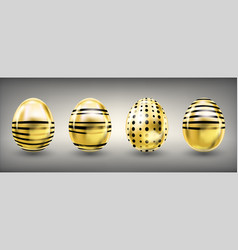 Easter shiny golden eggs with stripes and crosses vector
