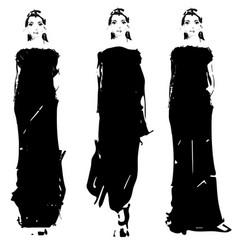 Fashion models sketch hand drawn vector