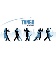 five couples dancing argentinian tango city vector image