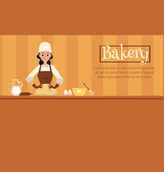 Flat bakery banner with cartoon pastry chef baker vector