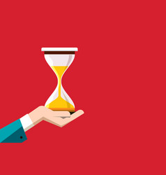 flat design hourglass in human hand on red vector image