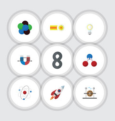 Flat icon knowledge set of spaceship nuclear vector