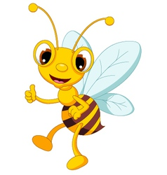 funny bee cartoon thumb up vector image