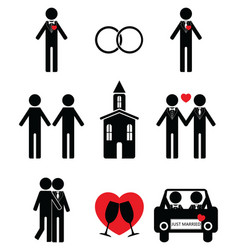 Gay man wedding 2 icons set vector image