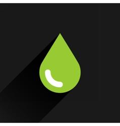 Green color drop icon with black long shadow vector