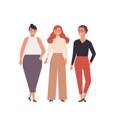 group cute young women dressed in stylish vector image