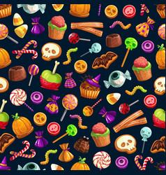 halloween sweet treats seamless pattern vector image