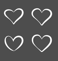 hand drawn contour hearts set design element vector image
