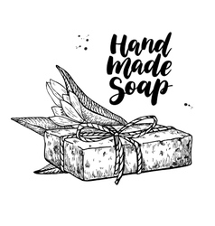 Handmade natural soap hand drawn cosmetic vector image
