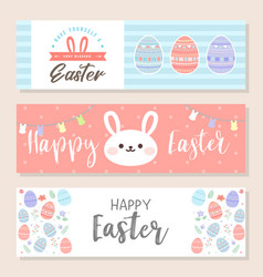 happy easter horizontal banner bookmark flyer vector image