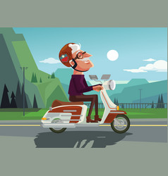 Happy smiling old man character drive scooter vector