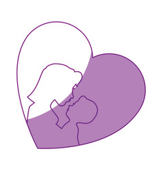heart with mother and baby icon vector image