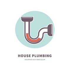 House plumbing service emblem with clogged pipe vector