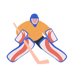 Ice hockey adult male player as goaltender vector