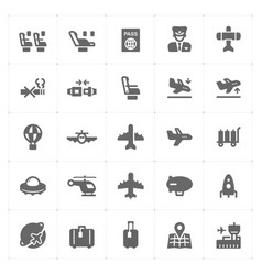 icon set - airplane and airport filled icon style vector image