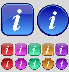 Information Info icon sign A set of twelve vintage vector image