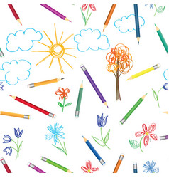 Kids art background crayon drawing seamless vector