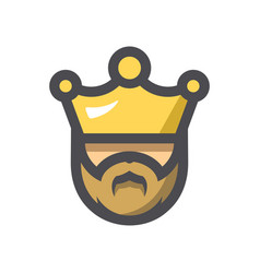 king with a crown icon cartoon vector image