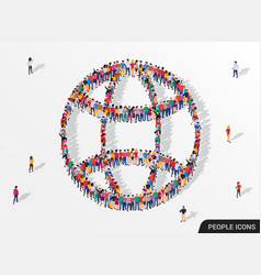 large group people in form globe sign vector image