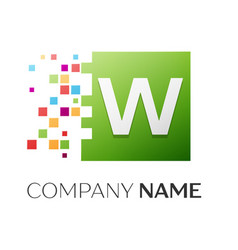 Letter w logo symbol in the colorful square vector