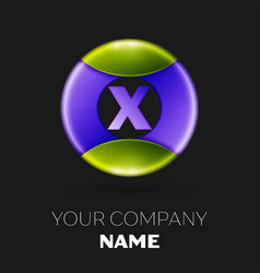 letter x logo symbol in the colorful circle vector image