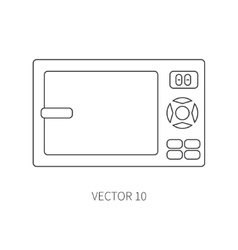 Line flat kitchenware icons - microwave vector
