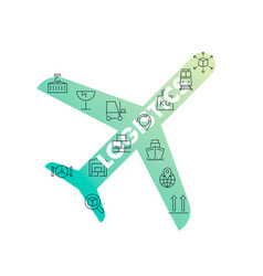line icons in airplane shape logistics vector image